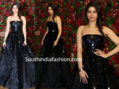 khushi kapoor in black gown at deepika ranveer wedding reception