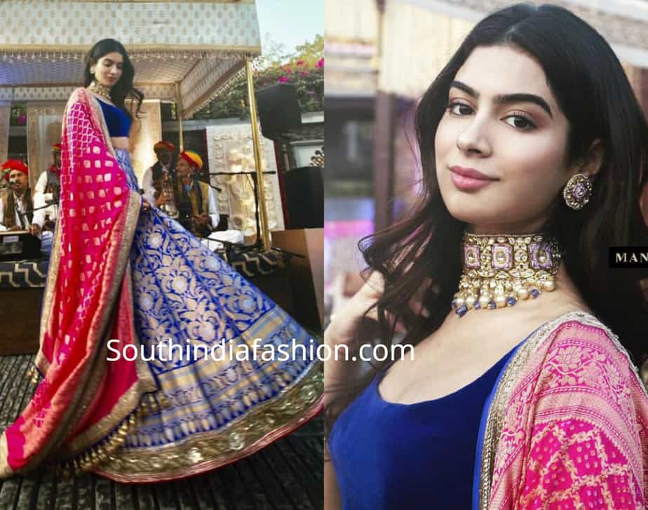 khushi kapoor in manish malhotra lehenga at isha ambani wedding