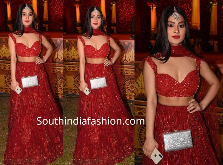Krishna Mukherjee in red lehenga at aslam chloe wedding