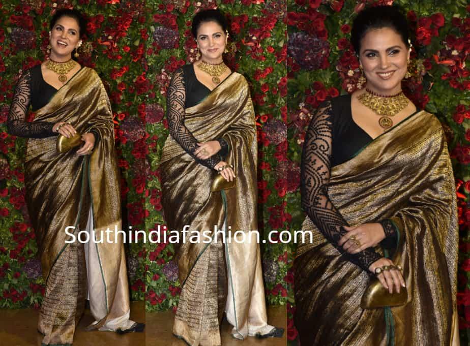 lara dutta kanjeevaram saree at deepika ranveer wedding reception