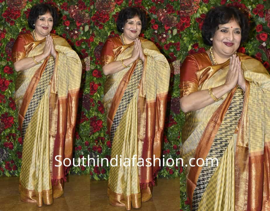 latha rajinikanth in kanjeevaram saree at deepika ranveer wedding reception