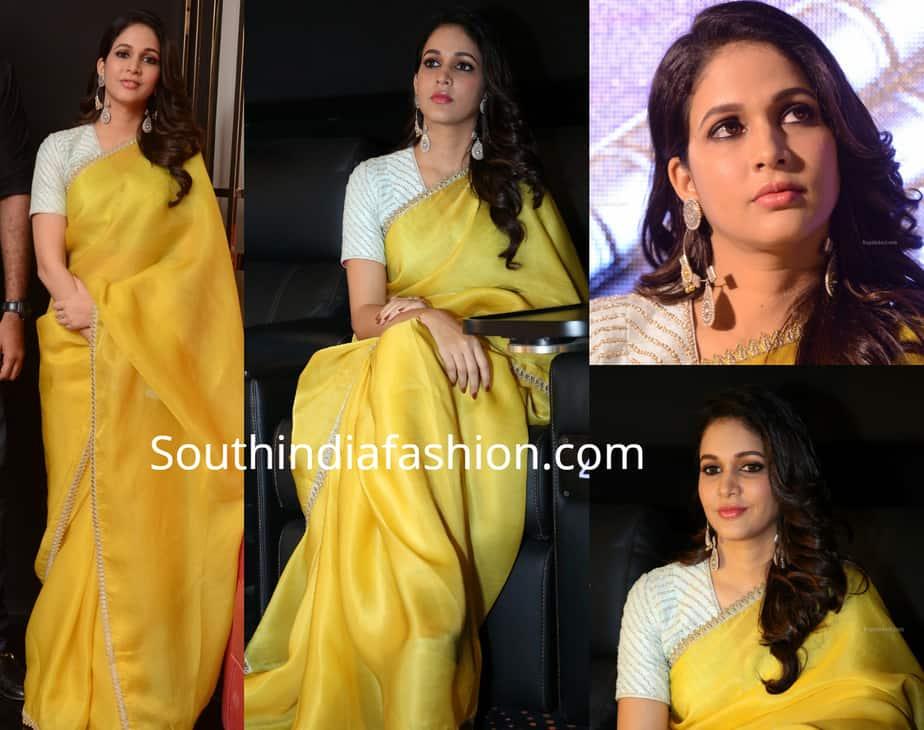 lavanya tripathi in yellow saree at anthariksham pre release event