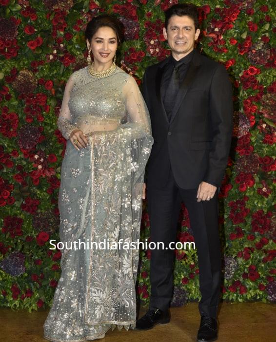 madhuri dixit in tarun tahiliani saree at deepika ranveer wedding reception