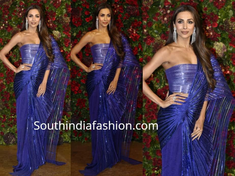 malaika arora khan blue saree deepika ranveer wedding reception