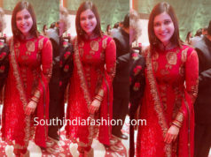 mannara chopra in red anarkali suit at priyanka chopra nick jonas wedding reception