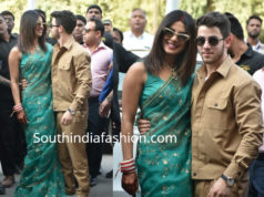 priyanka chopra green saree airport