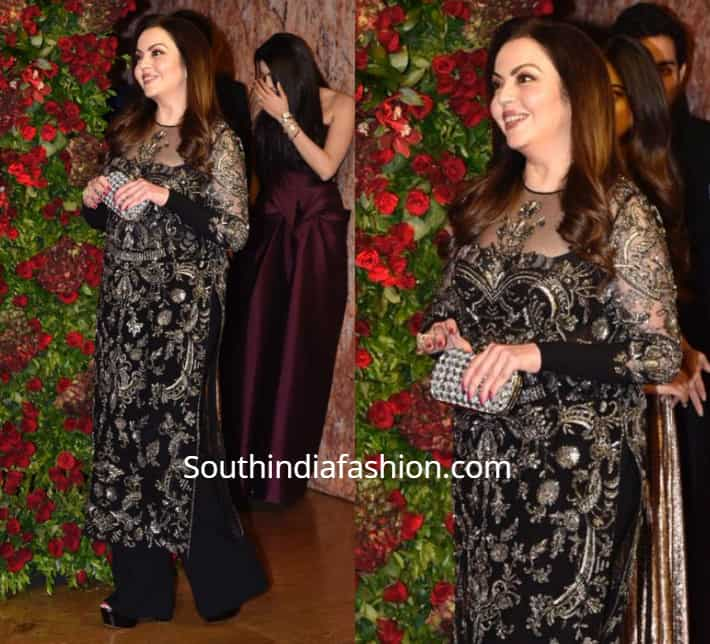 nita ambani black salwar suit in deepika reception