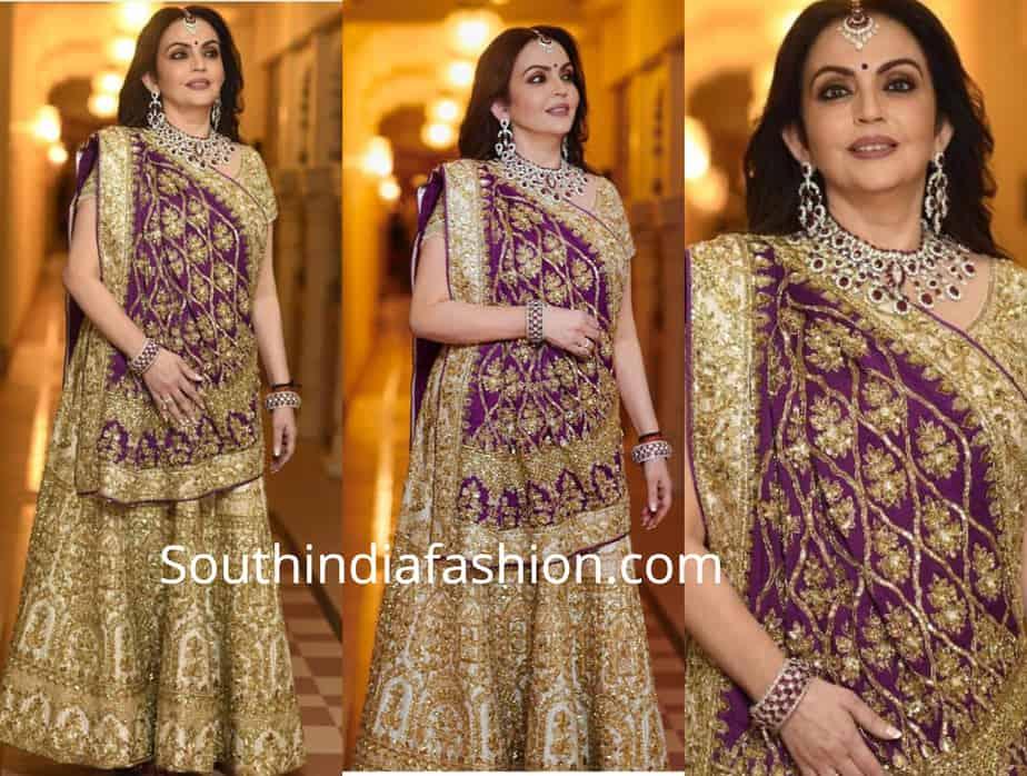 nita ambani in gold and purple lehenga at isha ambani wedding
