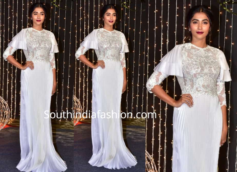 pooja hegde in a white gown at priyanka chopra wedding reception