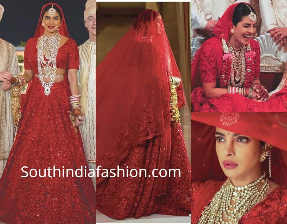 priyanka chopra red lehenga wedding