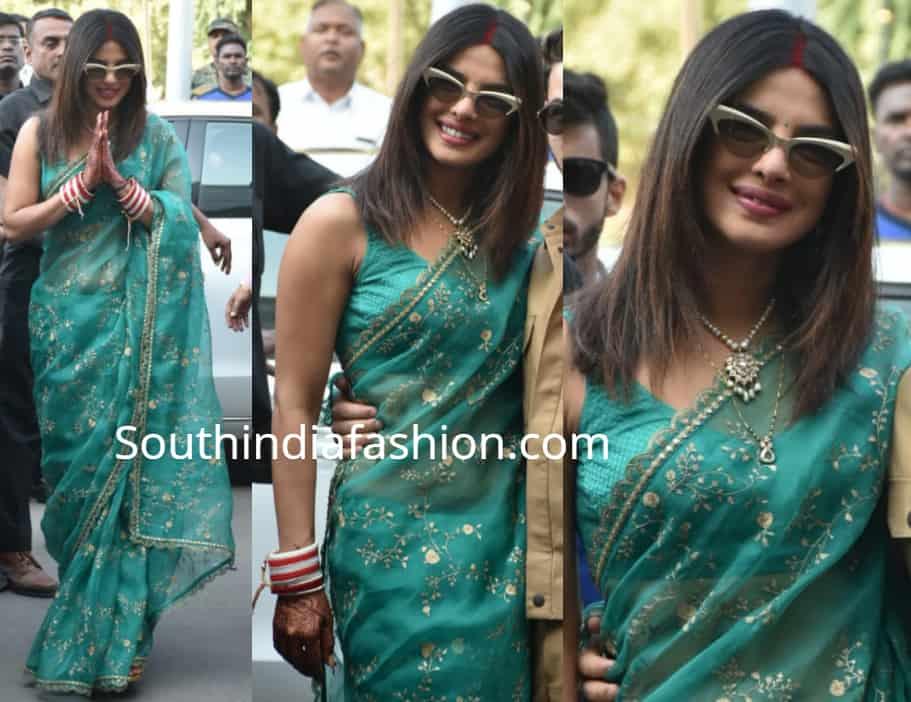 priyanka chopra green saree airport