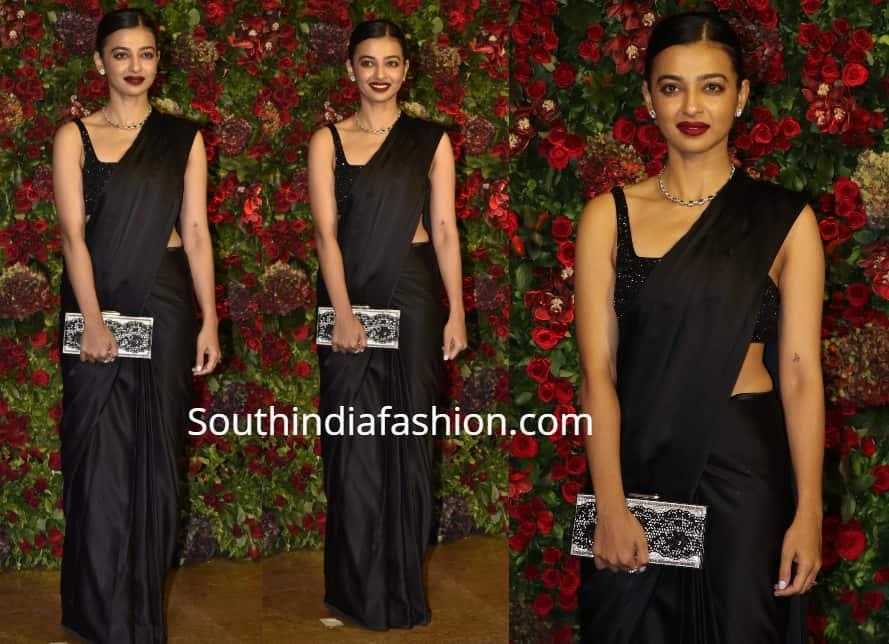 radhika apte black saree at deepika ranveer wedding reception