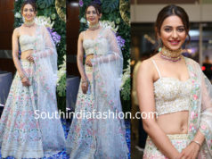 rakul preet singh in white lehenga at saina nehwal wedding reception