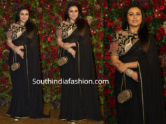 rani mukerjee black saree at deepika ranveer wedding reception