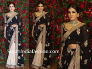 raveena tandon black and white saree at deepika ranveer wedding reception