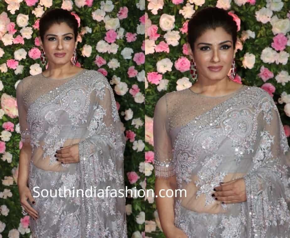 raveena tandon in grey saree at kapil sharma wedding reception