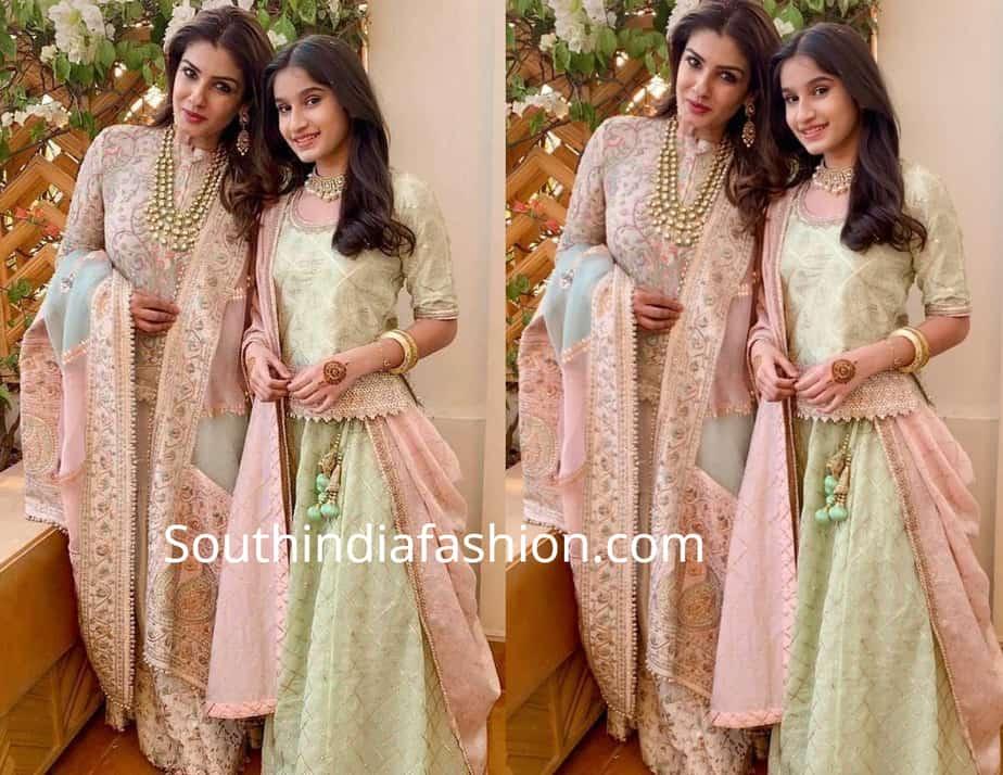 raveena tandon with daughter rasha thadani at isha ambani wedding