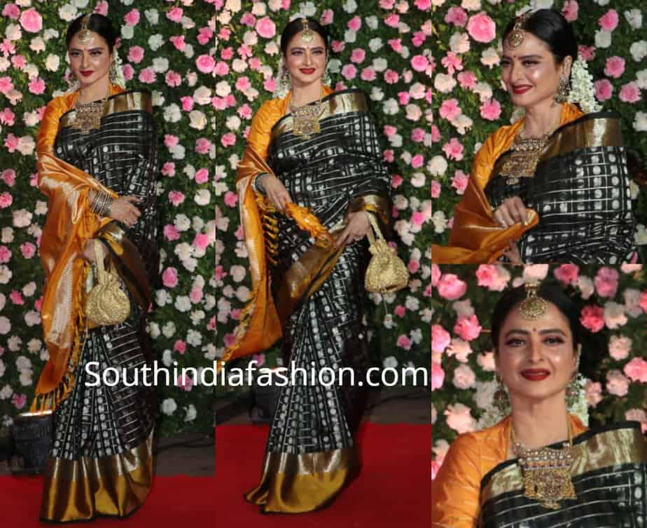 rekha black kanjeevaram saree at kapil sharma wedding reception