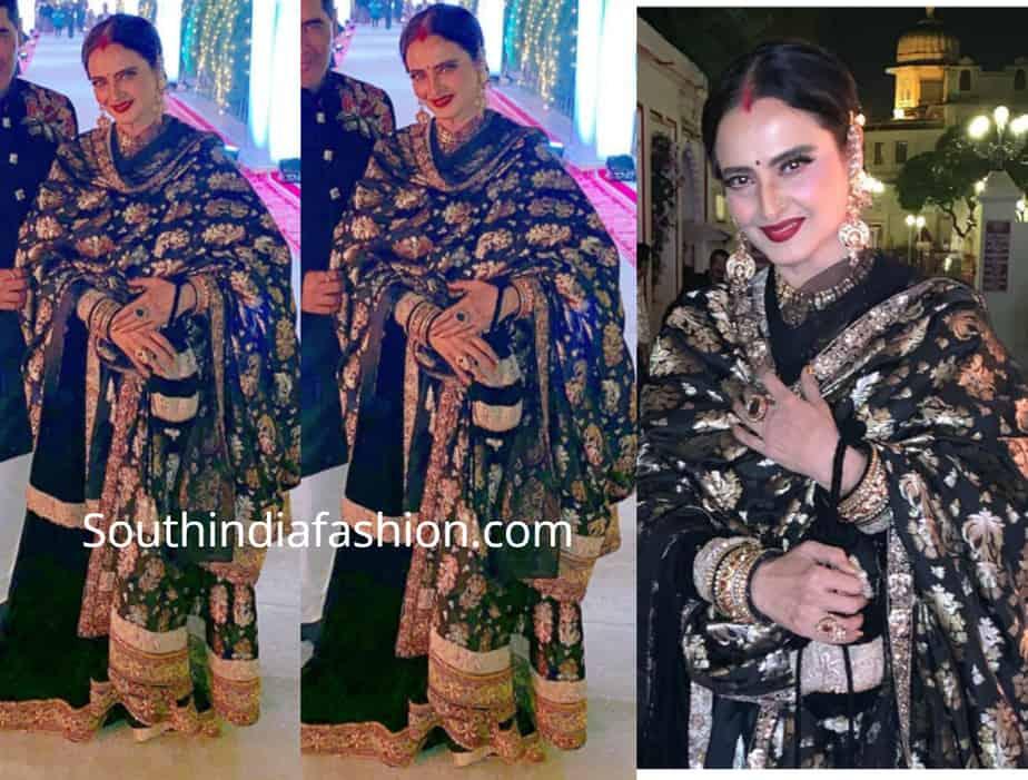 rekha in manish malhotra black sharara suit