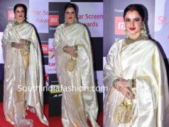 rekha in a white silk saree at star screen awards 2018