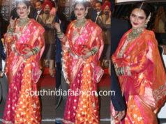 rekha in orange and pink banarasi saree at isha ambani wedding