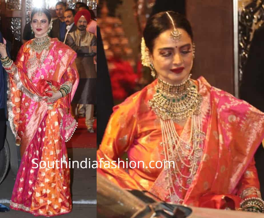 rekha in orange and pink banarasi saree at isha ambani wedding