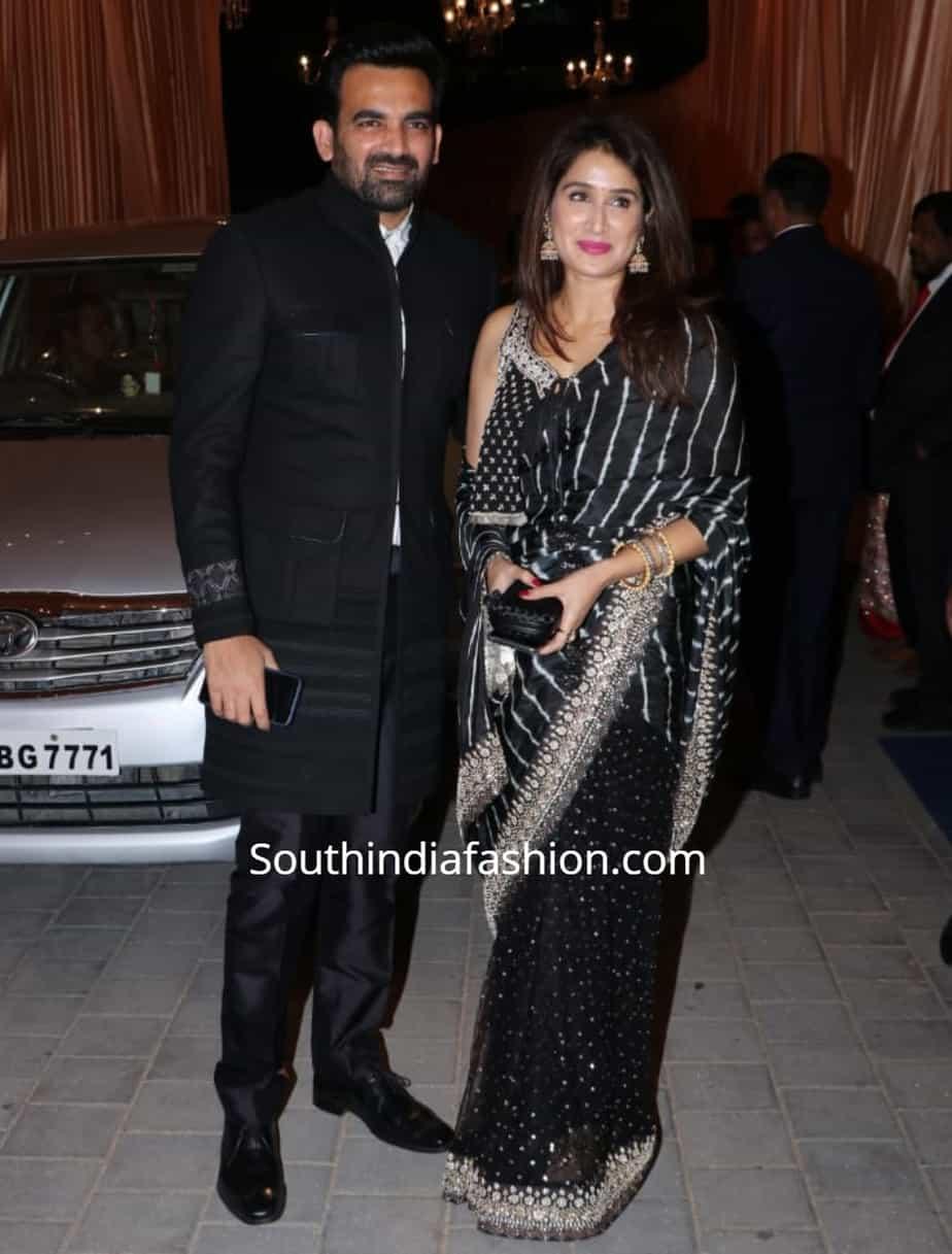 sagarika ghatge and zaheer khan at isha ambani wedding reception