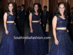 saina nehwal in blue lehenga at isha hwedding reception