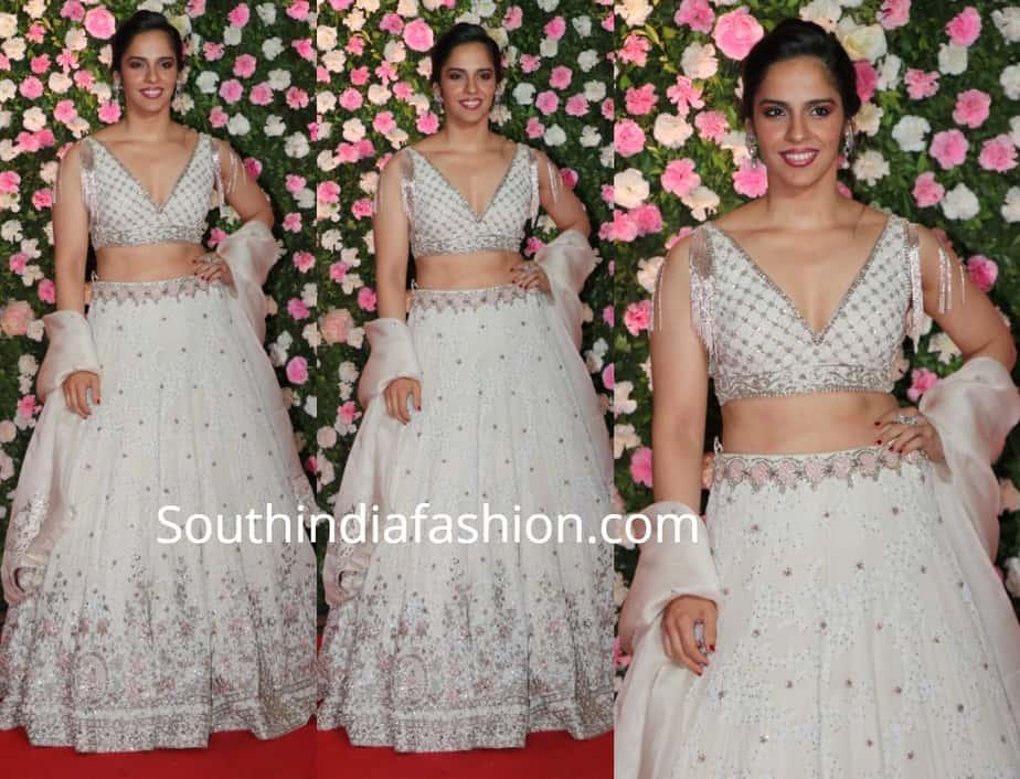 saina nehwal in white lehenga at kapil sharma wedding reception