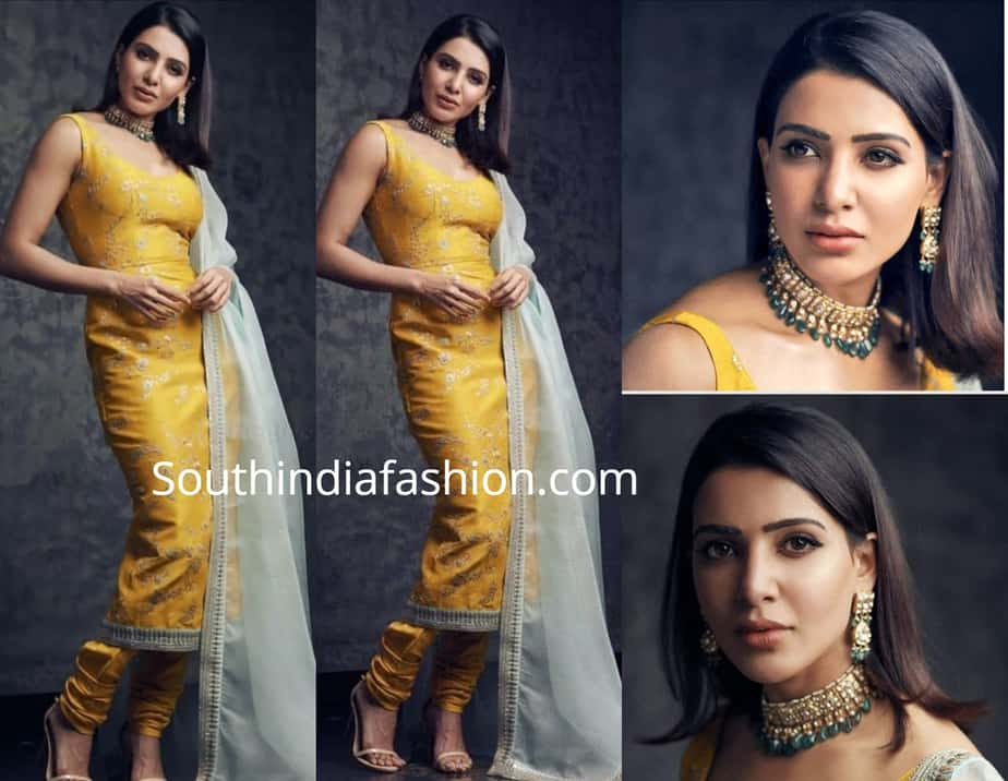 samantha akkineni in yellow sabyasachi salwar suit