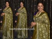 sameera reddy in banarasi silk saree at priyanka chopra wedding reception
