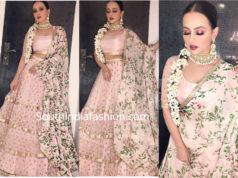 sana khan in pink lehenga at a wedding