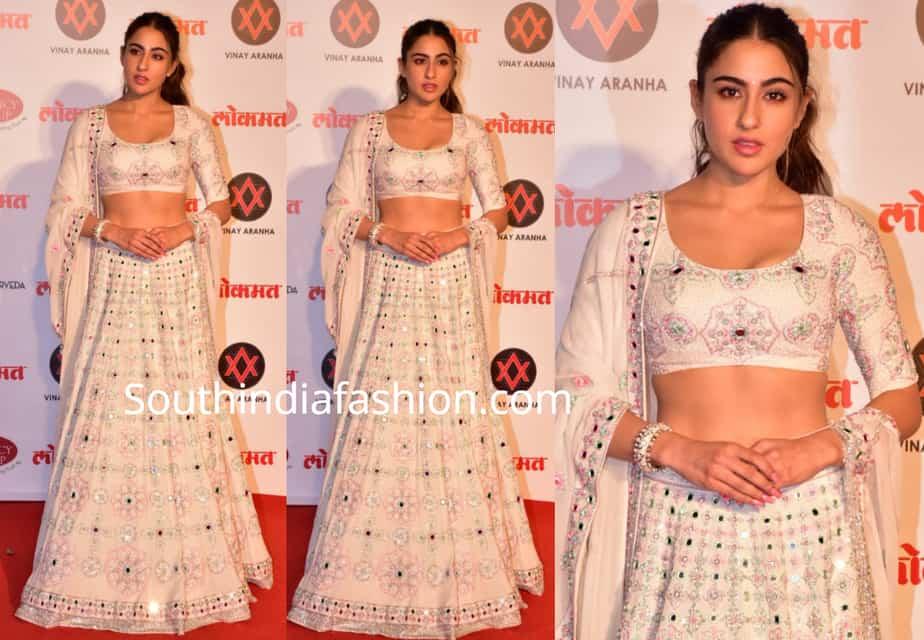 sara ali khan in white manish malhotra lehenga at lokmat most stylish awards