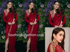 sara ali khan in red pant style saree at dinesh vijan wedding reception