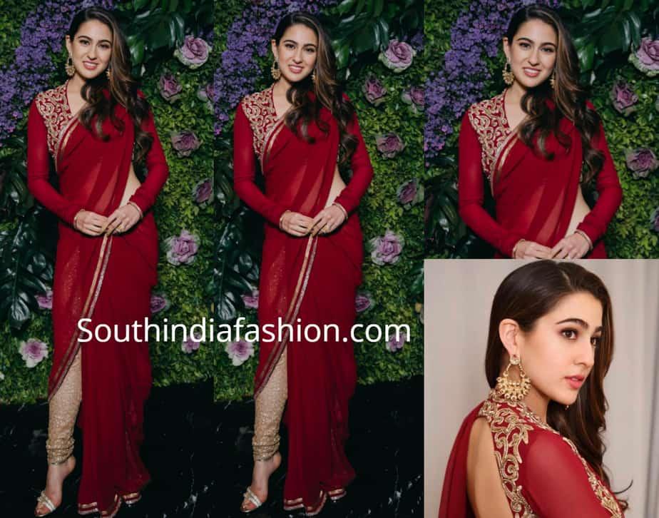 sara ali khan in red pant style saree at dinesh vijan wedding reception