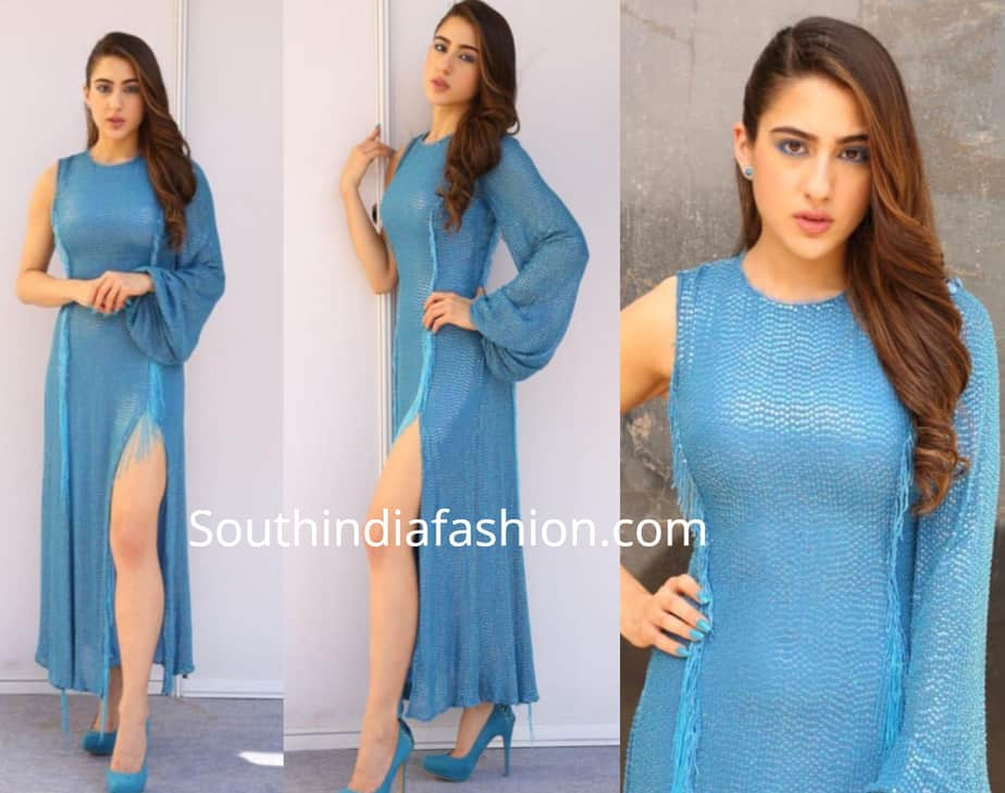 sara ali khan blue thigh high slit dress simbaa promotions