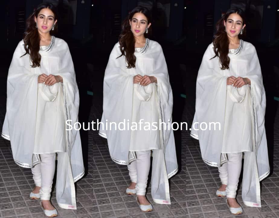sara ali khan in white salwar kameez at kedarnath screening