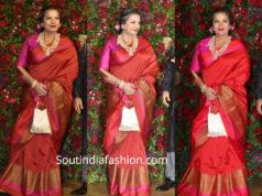 shabana azmi silk saree at deepika ranveer wedding reception