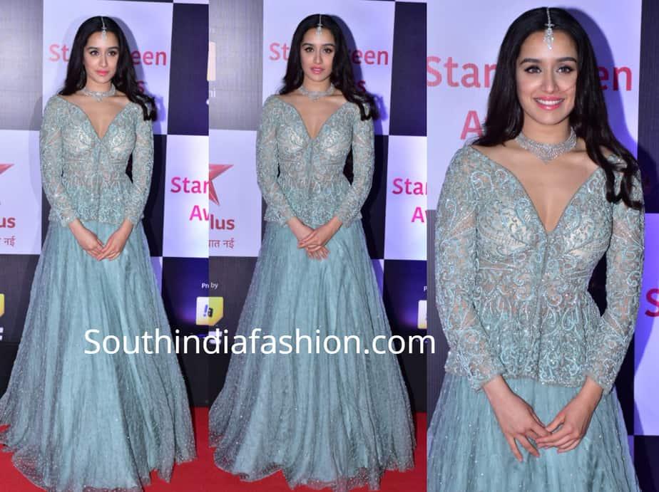 shraddha kapoor in blue lehenga and peplum top at star screen awards 2018