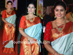 sneha prasannna in blue saree at vinaya vidheya rama pre release event