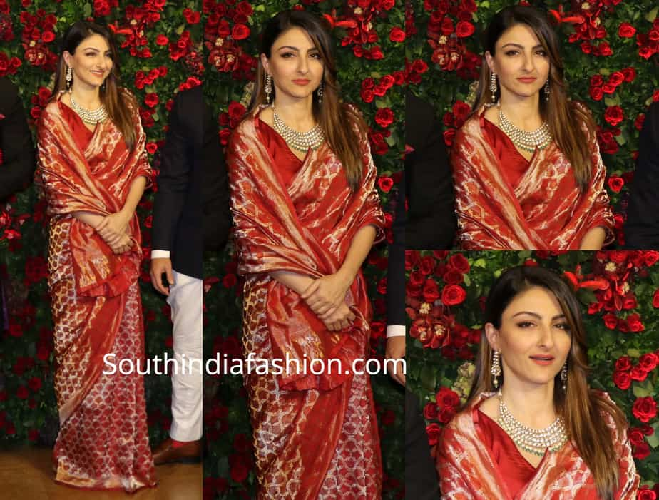 soha ali khan banarasi silk saree at deepik aranveer wedding reception