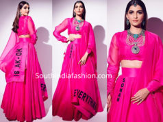 sonam kapoor in pink anamika khanna lehenga at isha ambani wedding