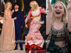 sophie turner in indian dresses at priyanka chopra nick jonas wedding