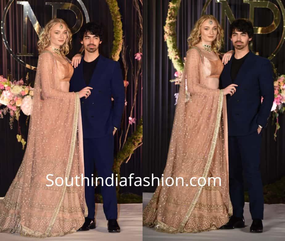 sophie turner in indian dresses at priyanka chopra nick jonas wedding