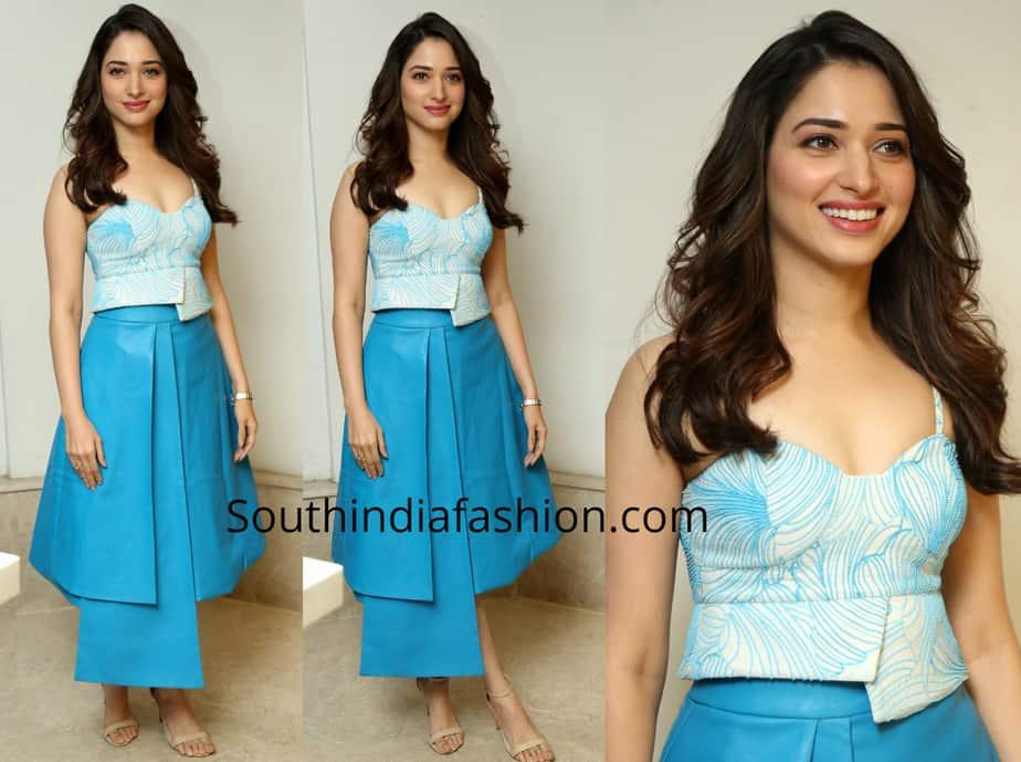 tamannaah bhatia blue skirt next enti pre release event