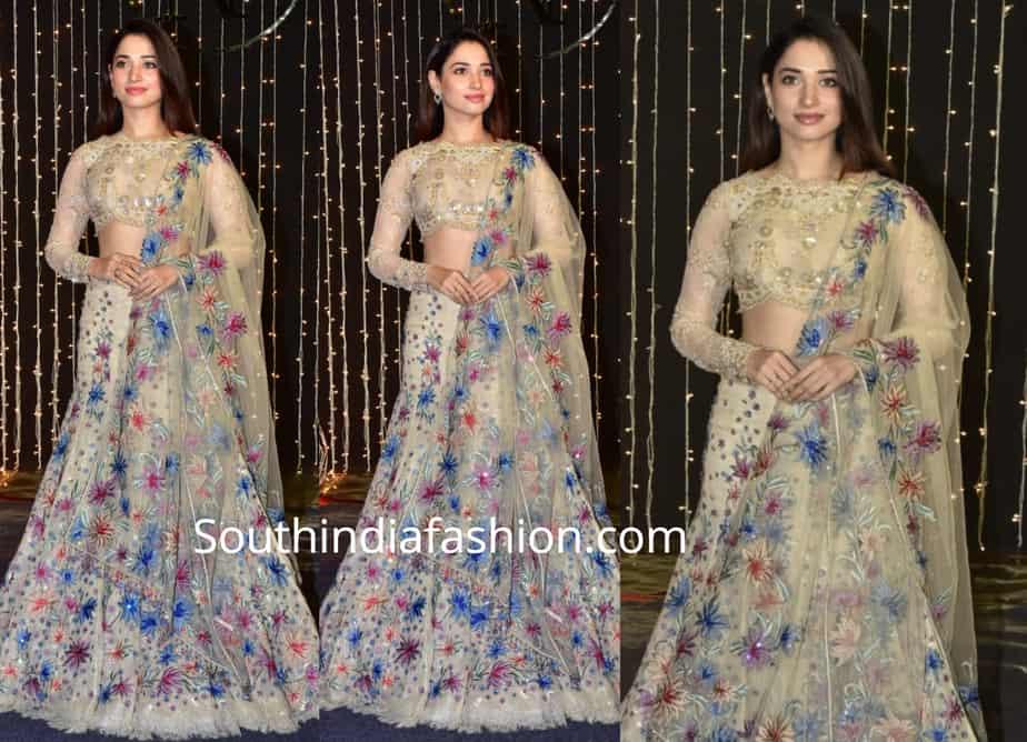 tamannaah in tarun tahilaini lehenga at Priyanka Chopra – Nick Jonas wedding reception