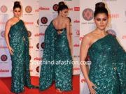 urvashi rautela in a green saree at lokmat awards