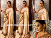 vidya balan in cream saree at isha ambani wedding