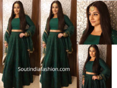 vidya balan in green lehenga at isha ambani pre wedding function
