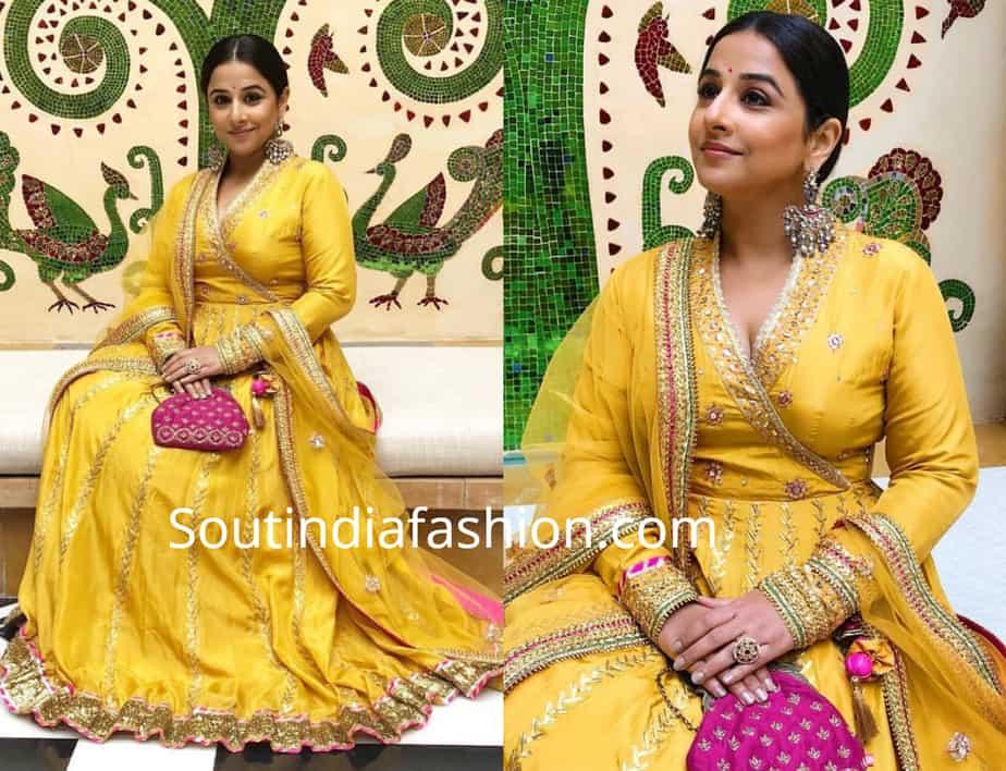 vidya balan in yellow anarkali at isha ambani pre wedding function